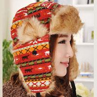 Womens Lady Camo Knit Wool Orange Hat Warm Winter Trooper Snow Ski Christmas Hunting Cap