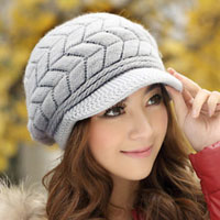 New Womens Winter Fall Warm Rabbit Fur Gray Double Sides Knit Hat Peaked Cap