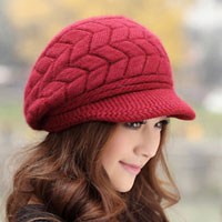 New Womens Winter Fall Warm Rabbit Fur Red Double Sides Knit Hat Peaked Cap