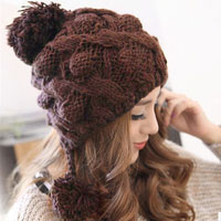 Lovely Cute Girls Womens Weaving Knit Wool Gray Spring Winter Warm Hat Peak Cap