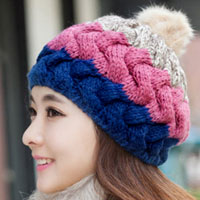 Women S Girl S Blue Pink Winter Lovely Slouch Knitting Cap Warm Beanie Crochet Ski Hat