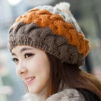 Women S Girl S Orange Brown Winter Lovely Slouch Knitting Cap Warm Beanie Crochet Ski Hat