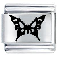 Butterfly In Black Italian Charm Laser Italian Charm