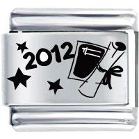 2012 Graduation Diploma Words Phrases Italian Charm Bracelet Laser Italian Charm