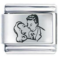 925 Sterling Silver Man Woman Kiss Italian Charm Laser Italian Charm