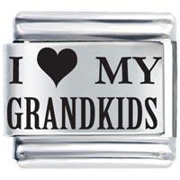 Laser I Heart Grandkids Italian Charm Bracelet Laser Italian Charm