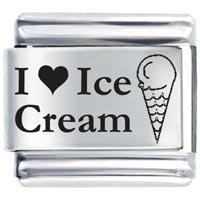 I Heart Ice Cream Italian Charm Bracelet Laser Italian Charm