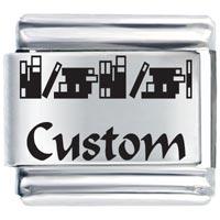 Custom School Books Italian Charm Bracelet Laser Italian Charm
