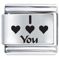 Word I Heart Holiday Italian Charm Bracelet Laser Italian Charm
