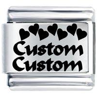 Custom Heart Italian Charm Bracelet Laser Italian Charm