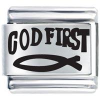 Bracelet God First Christian Italian Charm Laser Italian Charm