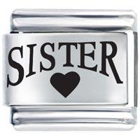 Sister Heart Brother Italian Charm Bracelet Laser Italian Charm