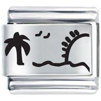 Sun Ocean Beach Palm Christmas Tree Gift Italian Charm Bracelet