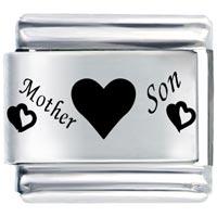 Mother Son Hearts Italian Charm Bracelet Laser Italian Charm