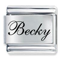 Edwardian Script Font Name Becky Italian Charm Bracelet Laser Italian Charm
