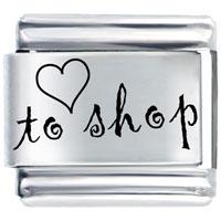 Heart To Shop Cursive Shopping Italian Charm Bracelet Laser Italian Charm