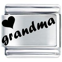Laser Heart Grandma Italian Charm Bracelet Laser Italian Charm
