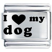 I Heart Dog Italian Charm Bracelet Laser Italian Charm