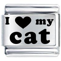 Laser I Heart Cat Birthstones Jewelry Italian Charm Bracelet Laser Italian Charm