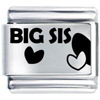 Big Sis Heart Italian Charm Bracelet Laser Italian Charm