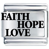 Laser Faith Hope Love Italian Charm Bracelet Laser Italian Charm
