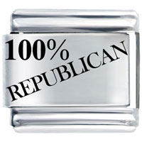 100 Republican Patriotic Usa Italian Charm Bracelet Laser Italian Charm
