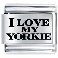 I Love Yorkie Gift Italian Charm Laser Italian Charm