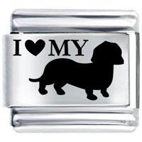 I Heart Wiener Dog Italian Charm Bracelet Laser Italian Charm