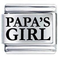 Papas Girl Gift Italian Charm Laser Italian Charm