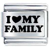 Laser I Heart Family Italian Charm Bracelet Laser Italian Charm
