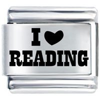 I Love Read Heart School Laser Italian Charm