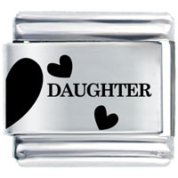 Daughter Half Heart Laser Italian Charm