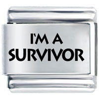 I M A Survivor Italian Charms Bracelet Link Laser Italian Charm
