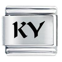 Ky Kentucky State Travel Flags Italian Charm Bracelet Laser Italian Charm