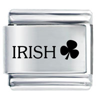 Irish Clover Travel   Flags Italian Charm Bracelet Laser Italian Charm