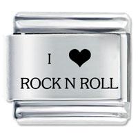 I Heart Rock N Roll Love Italian Charm Bracelet Laser Italian Charm