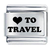 Heart To Travel Stainless Steel Base Laser Italian Charm Link 9 Mm