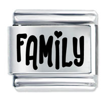 Goegeous Word Family Stainless Steel Base Laser Italian Charm Link