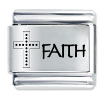 Word Faith Cross Stainless Steel Base Laser Italian Charm Link 9 Mm