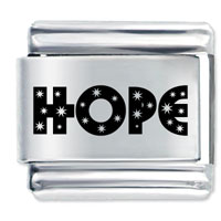 Word Hope Stainless Steel Laser Charm Stylish Italian Charm Link 9 Mm Laser Italian Charm