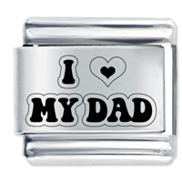 Laser Phrase I Love Dad Italian Charm Stainless Steel Link 9 Mm Laser Italian Charm