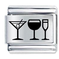 Drinks Wine Laser Italian Charm 9 Mm Link Stainless Steel Base