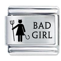 Bad Girl Gift Laser Italian Charm 9 Mm Link Stainless Steel Base
