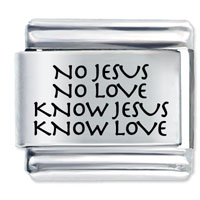 Know Jesus Gift Laser Italian Charm 9 Mm Link Stainless Steel Base