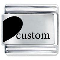 Custom Love Heart Left Italian Charm Bracelet Laser Italian Charm