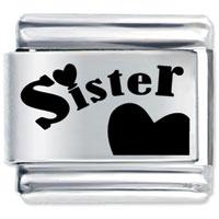 Heart Sister Letter Birthstones Jewelry Italian Charm Bracelet Laser Italian Charm