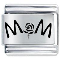 Mom Flower Italian Charms Bracelet Link Laser Italian Charm