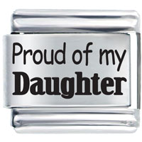 Proud Of Daughter Italian Charms Bracelet Link Laser Italian Charm