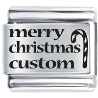Merry Christmas Custom Laser Italian Charms Bracelet Link