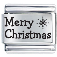 Merry Christmas Star Laser Holiday Italian Charms Laser Italian Charm